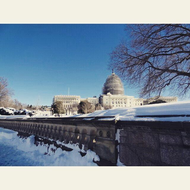 The Capitol Building covered in Snow was super beautiful Therehellip