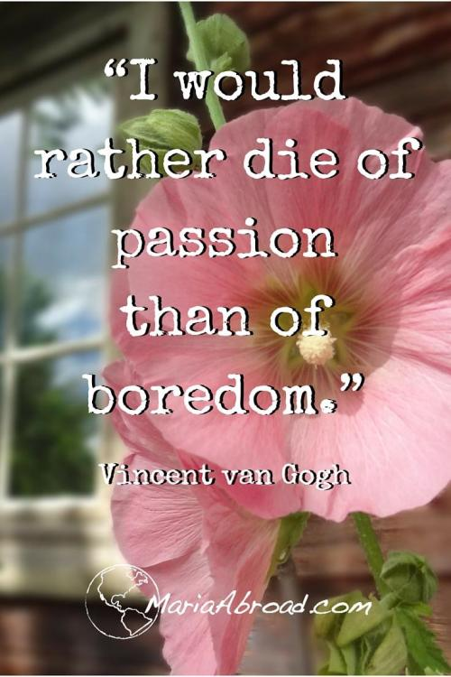 "Live Life Passionately ""I would rather die of passion than of boredom."" Vincent van Gogh"