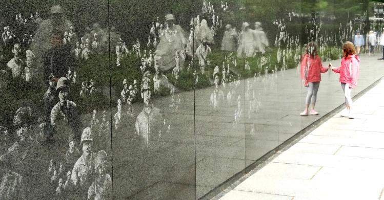 Little Girl in Red - Korean War Memorial Washington DC
