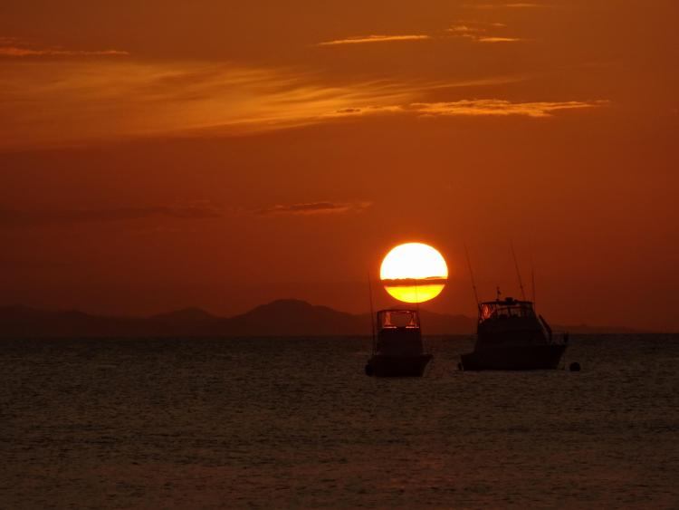Sunset & Boats at Sosua Beach, Dominican Republic